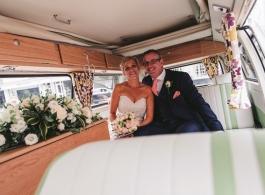 Green VW Campervan for weddings in Amersham